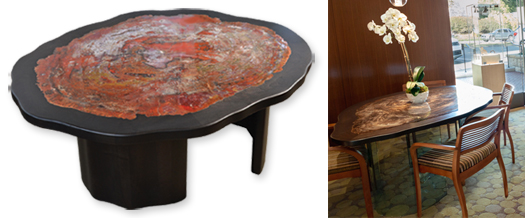 Silverhorn dining tables and accent chairs
