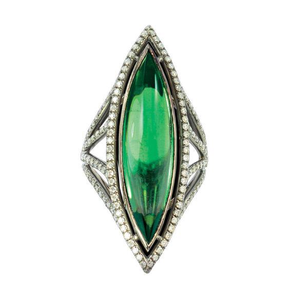 Silverhorn green tourmaline marquise ring