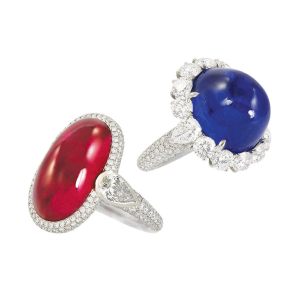 Silverhorn ruby and sapphire cab rings