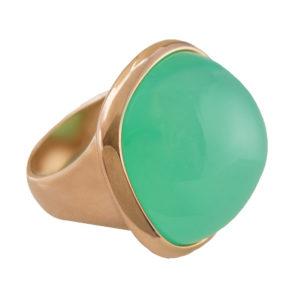 Chrysoprase Cabochon Ring