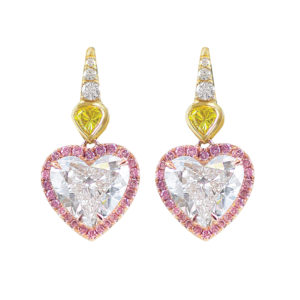 Silverhorn diamond heart earrings