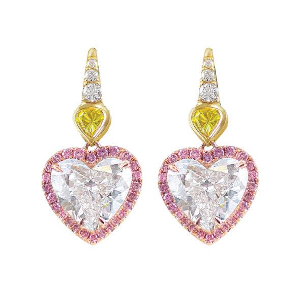 Silverhorn diamond heart earrings