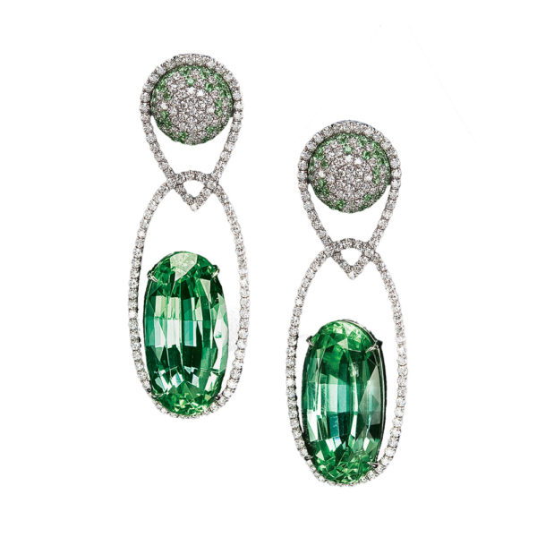 Silverhorn mint green tourmaline earrings