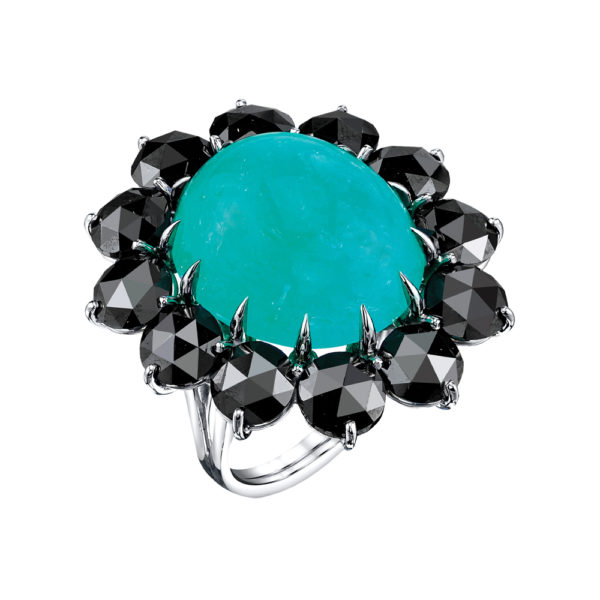 Silverhorn paraiba cabochon and black diamond ring