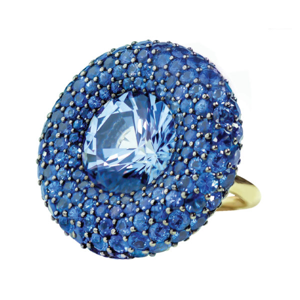 Silverhorn round sapphire pave ring
