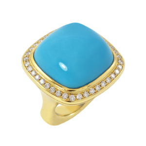 Silverhorn turquoise and diamond ring