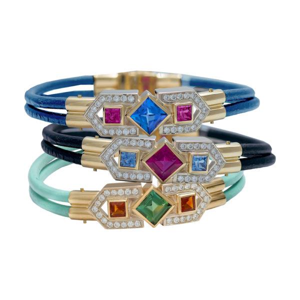 Silverhorn Colored Gem & Diamond Bracelets set in 18kt gold on leather