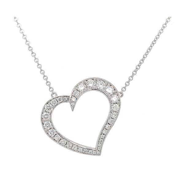 Silverhorn Diamond heart necklace set in white gold