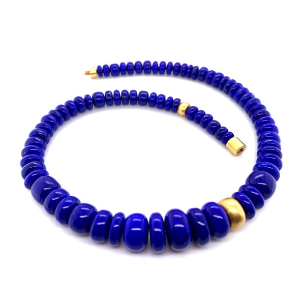 Silverhorn Lapis necklace set in 18 kt. Gold