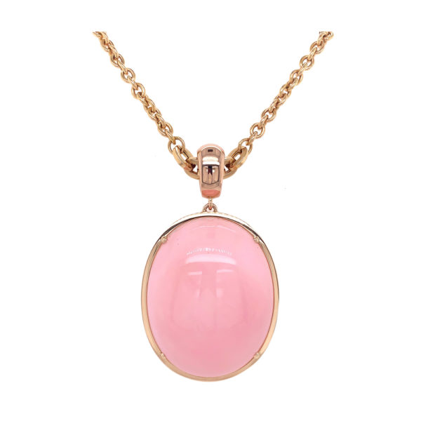 Silverhorn Pink opal pendant set in rose gold