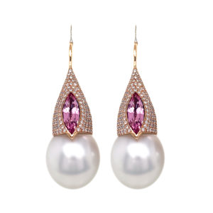 Silverhorn morganite, diamond and south sea pearl earrings