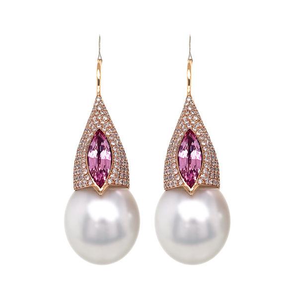 Silverhorn morganite, diamond and south sea pearl earrings