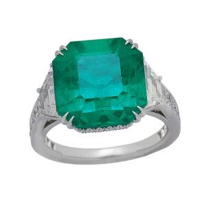 Silverhorn large emerald ring