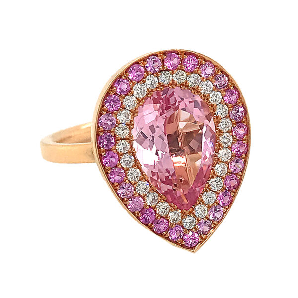 Silverhorn pink and gold ring