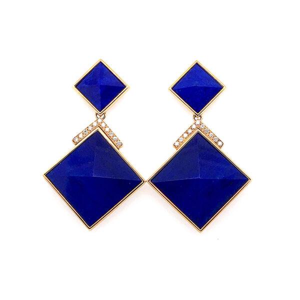 Silverhorn triangle diamond lapis earrings
