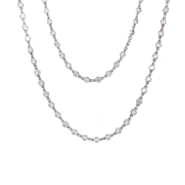 Silverhorn 18kt white gold and rose cut diamond chain of 18.26ct 70 inches in length