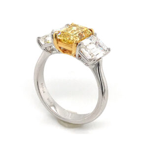 Silverhorn Three stone emerald cut diamond ring