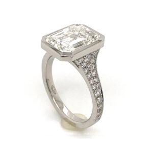 Silverhorn emerald cut diamond ring