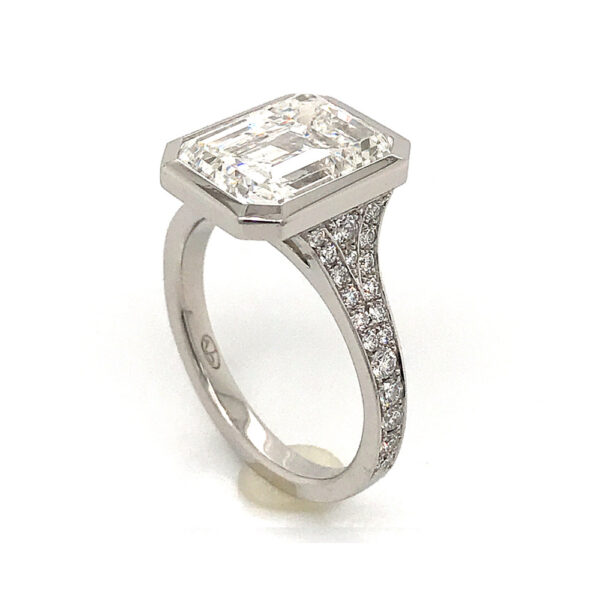 Silverhorn emerald cut diamond ring