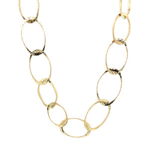 Silverhorn jewelers Handmade 18kt gold chain with oval hammered links