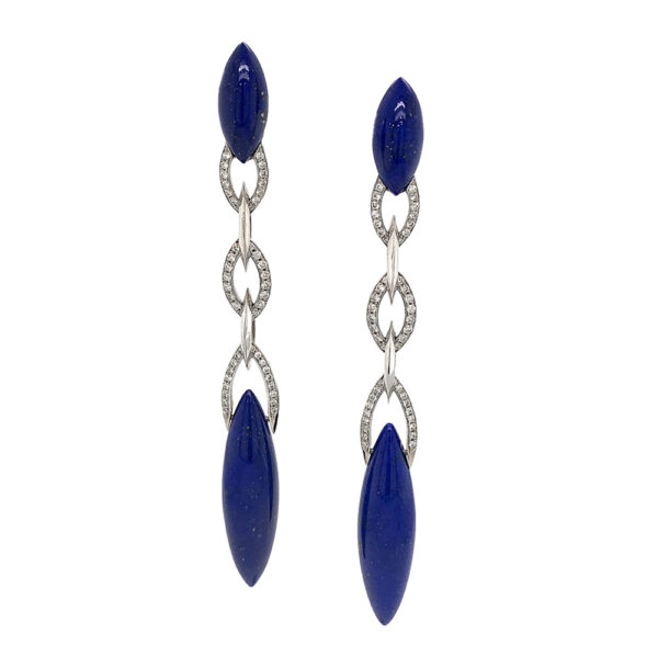 Silverhorn Jewelers 18 karat white gold with lapis and diamonds earrings