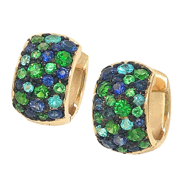Silverhorn Jewelers Paraiba, Tsavorite and demantoid garnet in 18 karat yellow gold huggie earrings