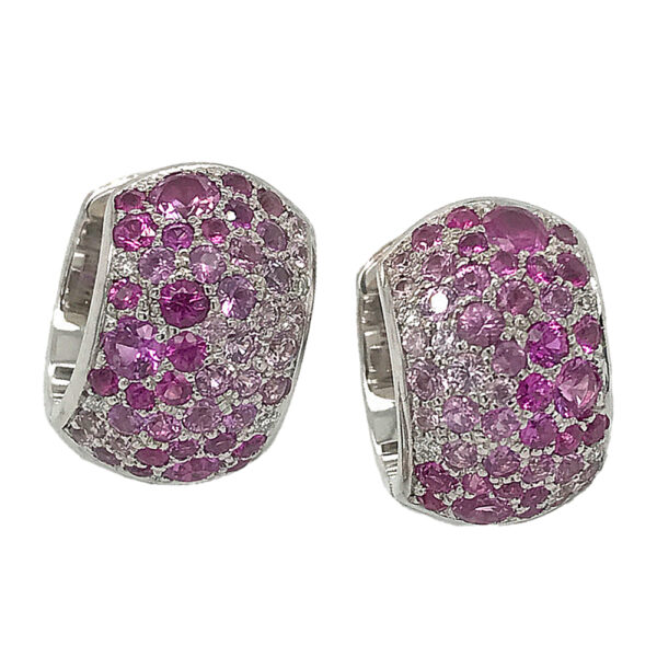 Silverhorn Jewelers huggie earrings set with pink sapphires and diamonds in white gold