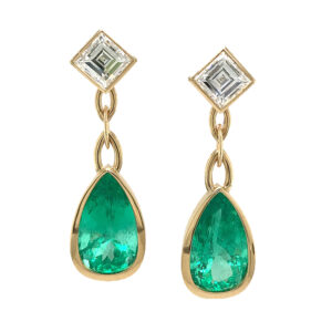 Silverhorn Jewelers pear shaped emerald earrings