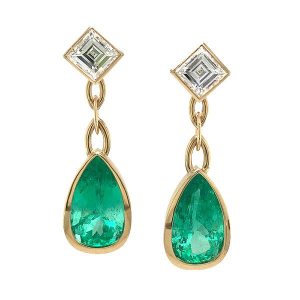 Silverhorn Jewelers pear shaped emerald earrings
